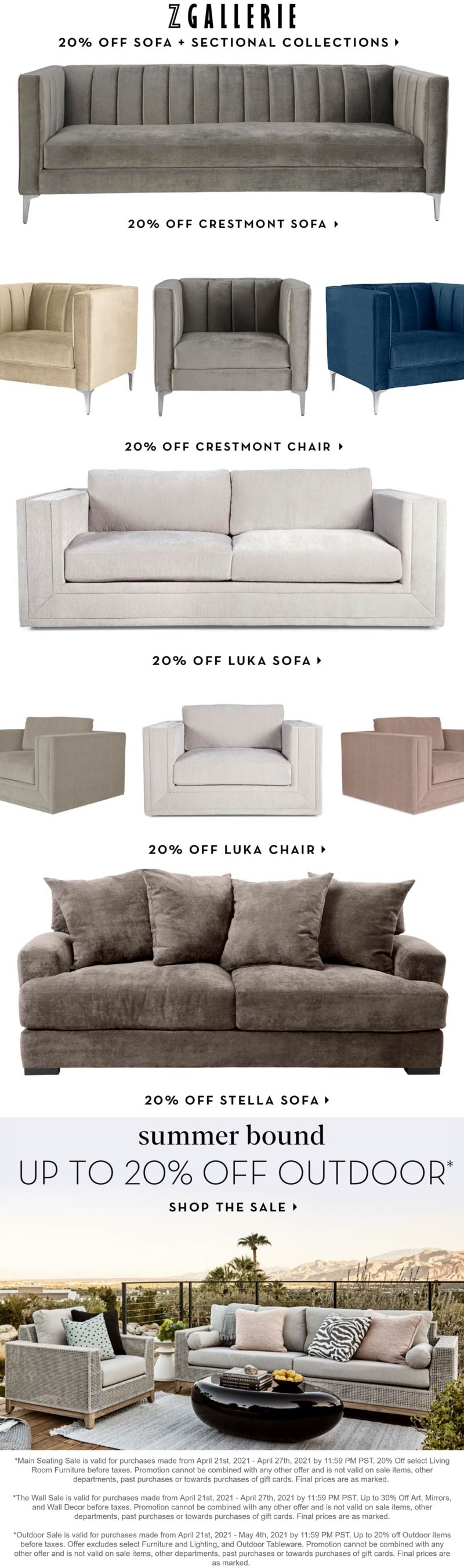 Z Gallerie stores Coupon  20% off sofa collections & outdoor at Z Gallerie #zgallerie