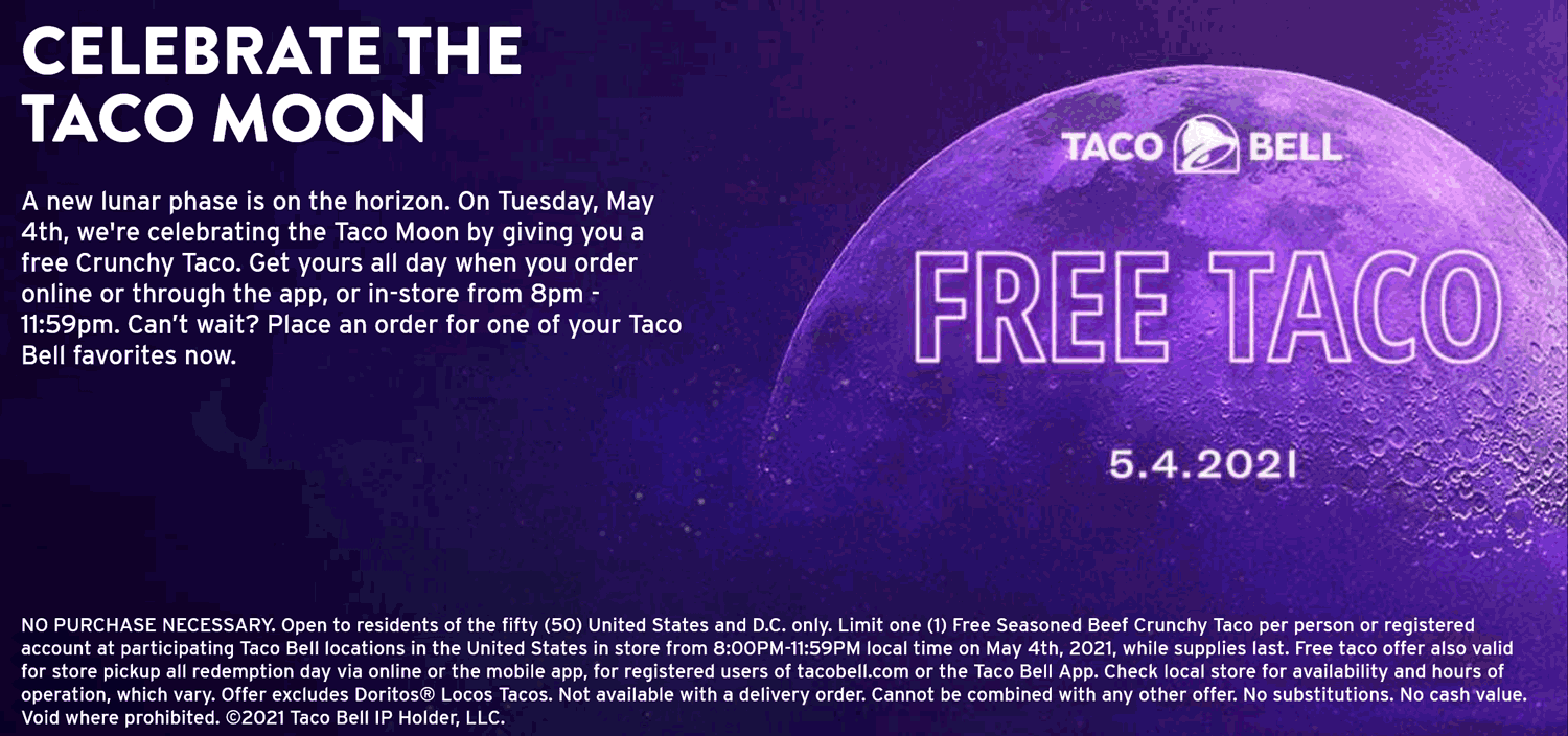 Taco Bell restaurants Coupon  Free taco Tuesday at Taco Bell #tacobell