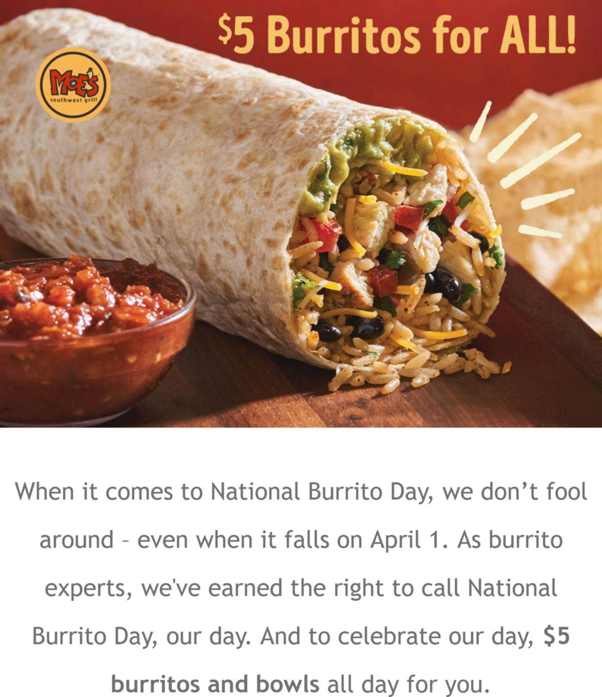 Moes Southwest Grill restaurants Coupon  $5 burritos today at Moes Southwest Grill #moessouthwestgrill
