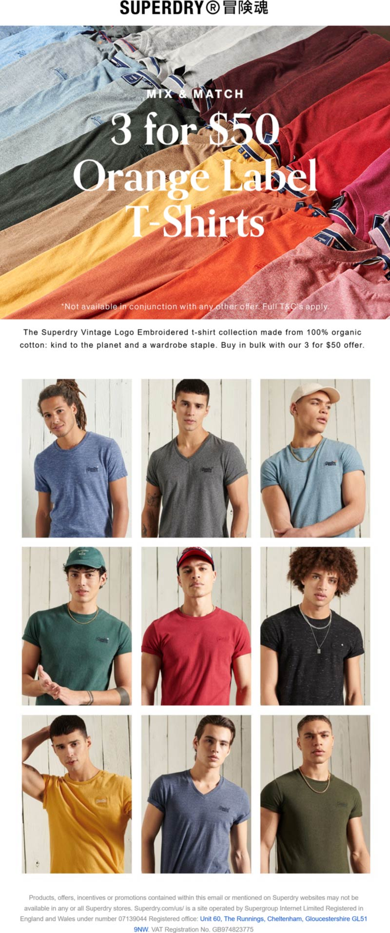 Superdry stores Coupon  Mix & match t-shirts 3 for $50 at Superdry #superdry