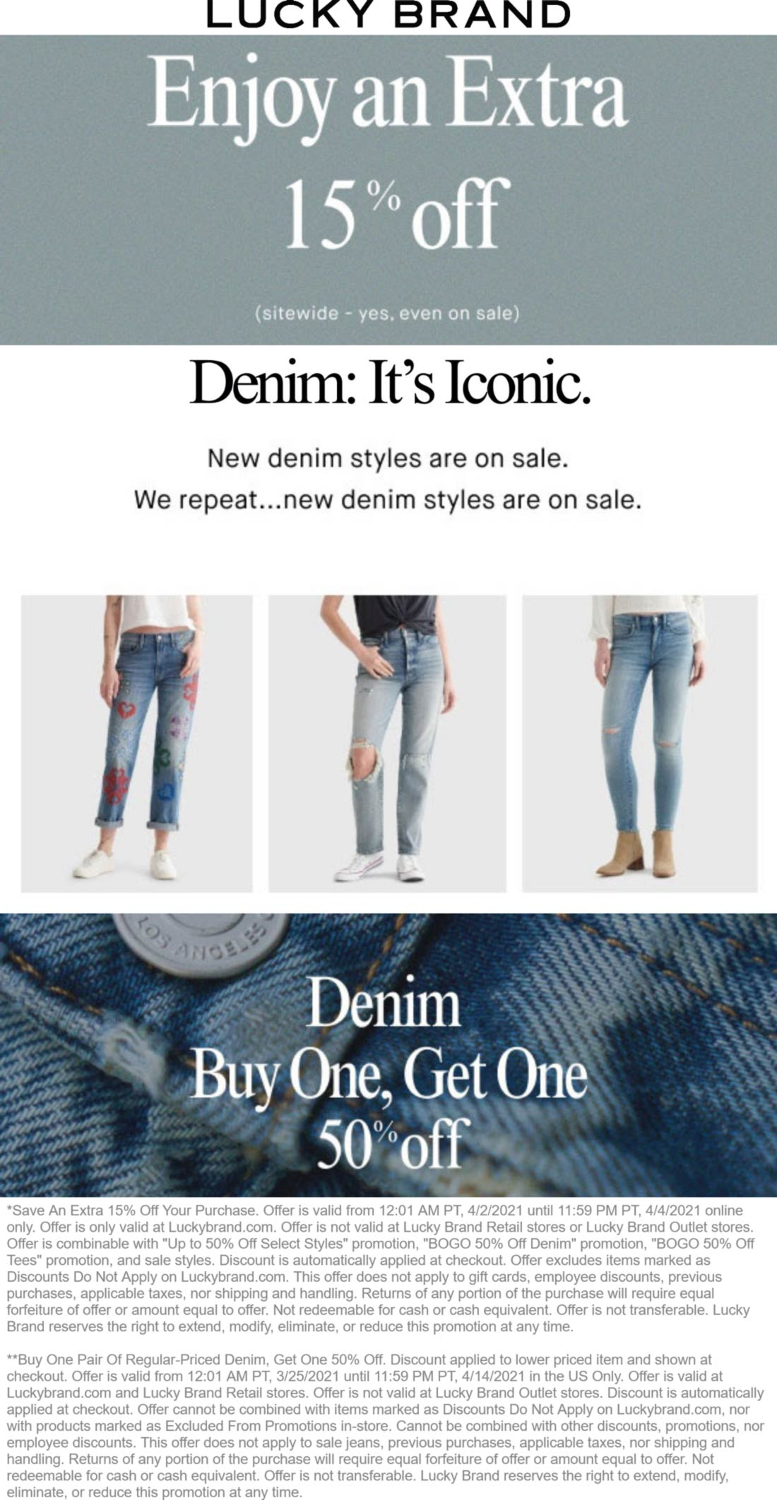 Lucky Brand stores Coupon  Extra 15% off everything & second denim 50% off online at Lucky Brand #luckybrand