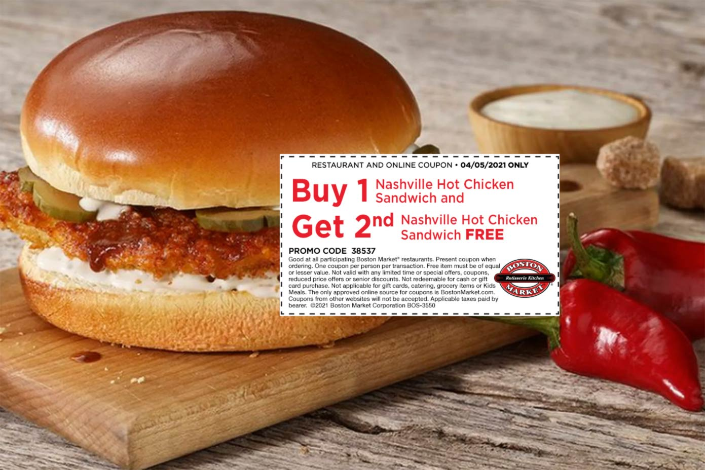 Boston Market restaurants Coupon  Second Nashville hot chicken sandwich free today at Boston Market #bostonmarket