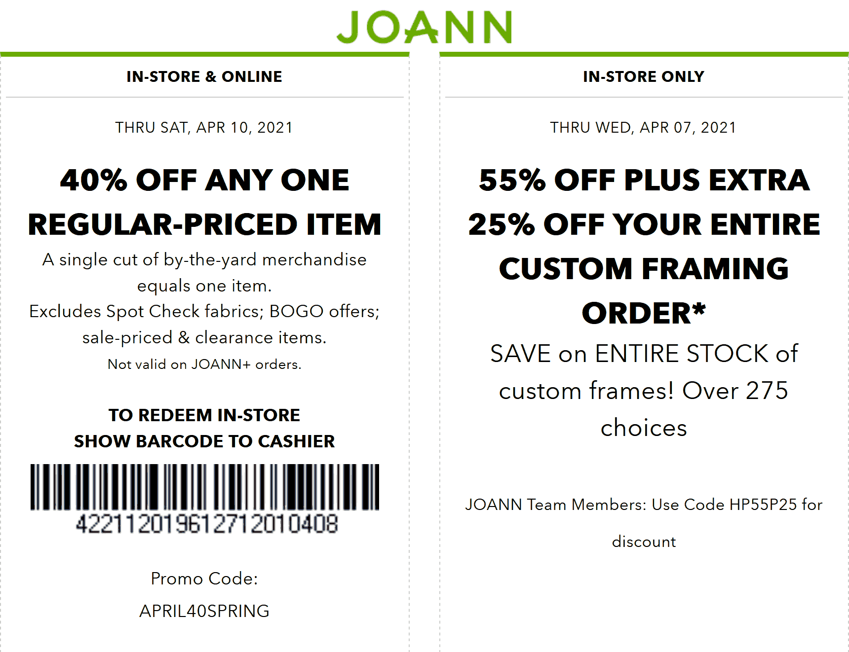 Joann stores Coupon  40% off a single item at Joann, or online via promo code APRIL40SPRING #joann