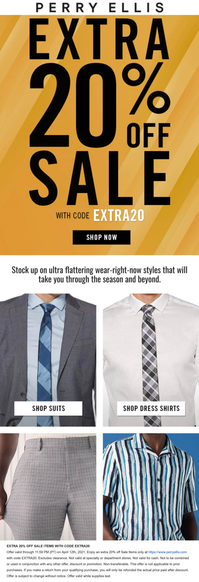 Perry Ellis coupons & promo code for [May 2021]