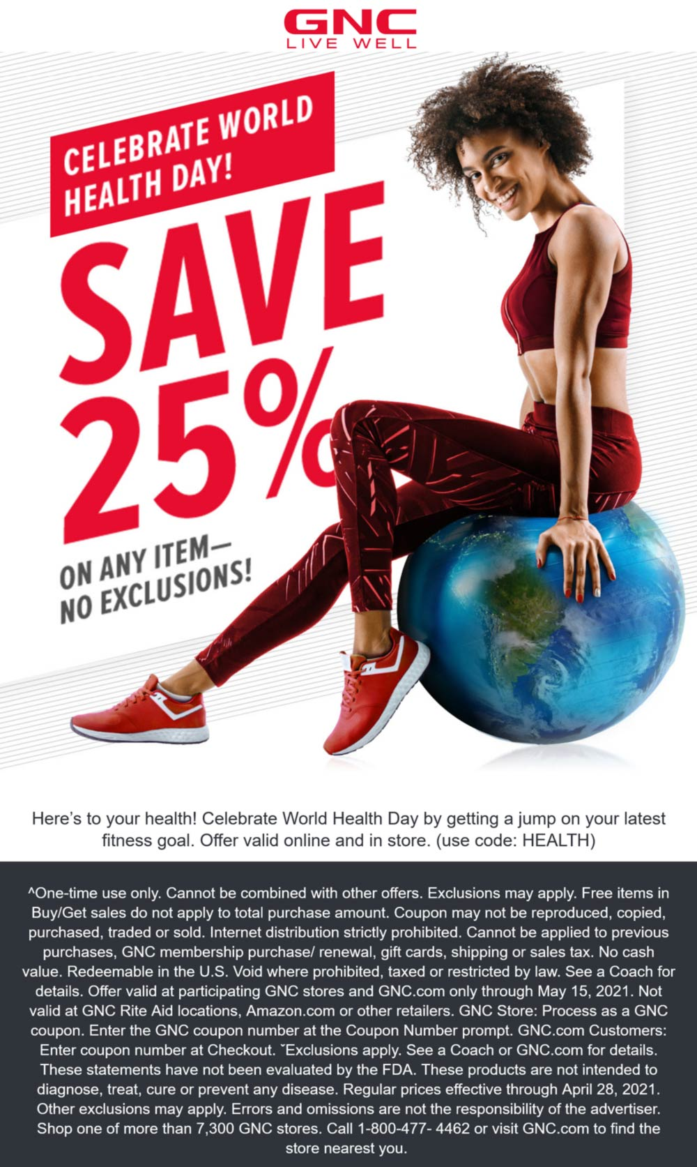 GNC stores Coupon  25% off a single item today at GNC, or online via promo code HEALTH #gnc