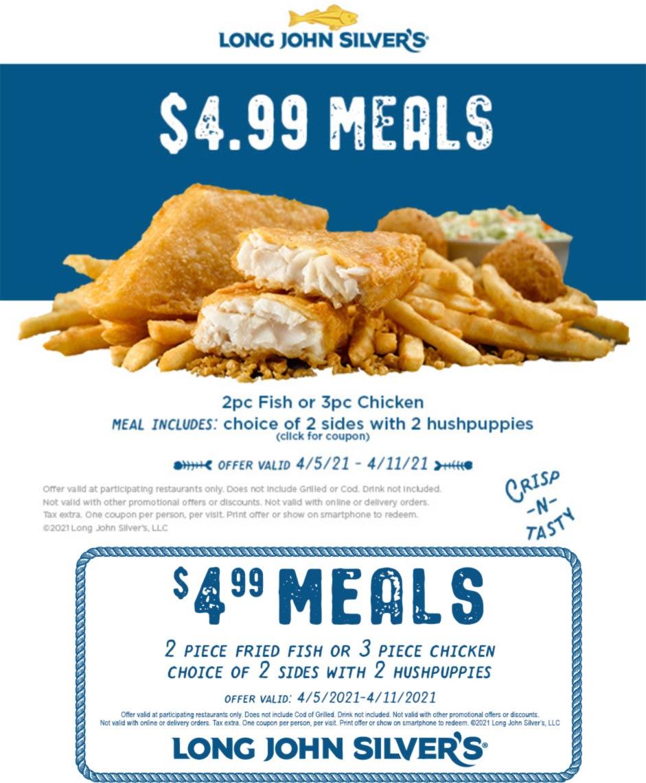 Long John Silvers restaurants Coupon  2pc fish or 3pc chicken meal = $5 at Long John Silvers #longjohnsilvers