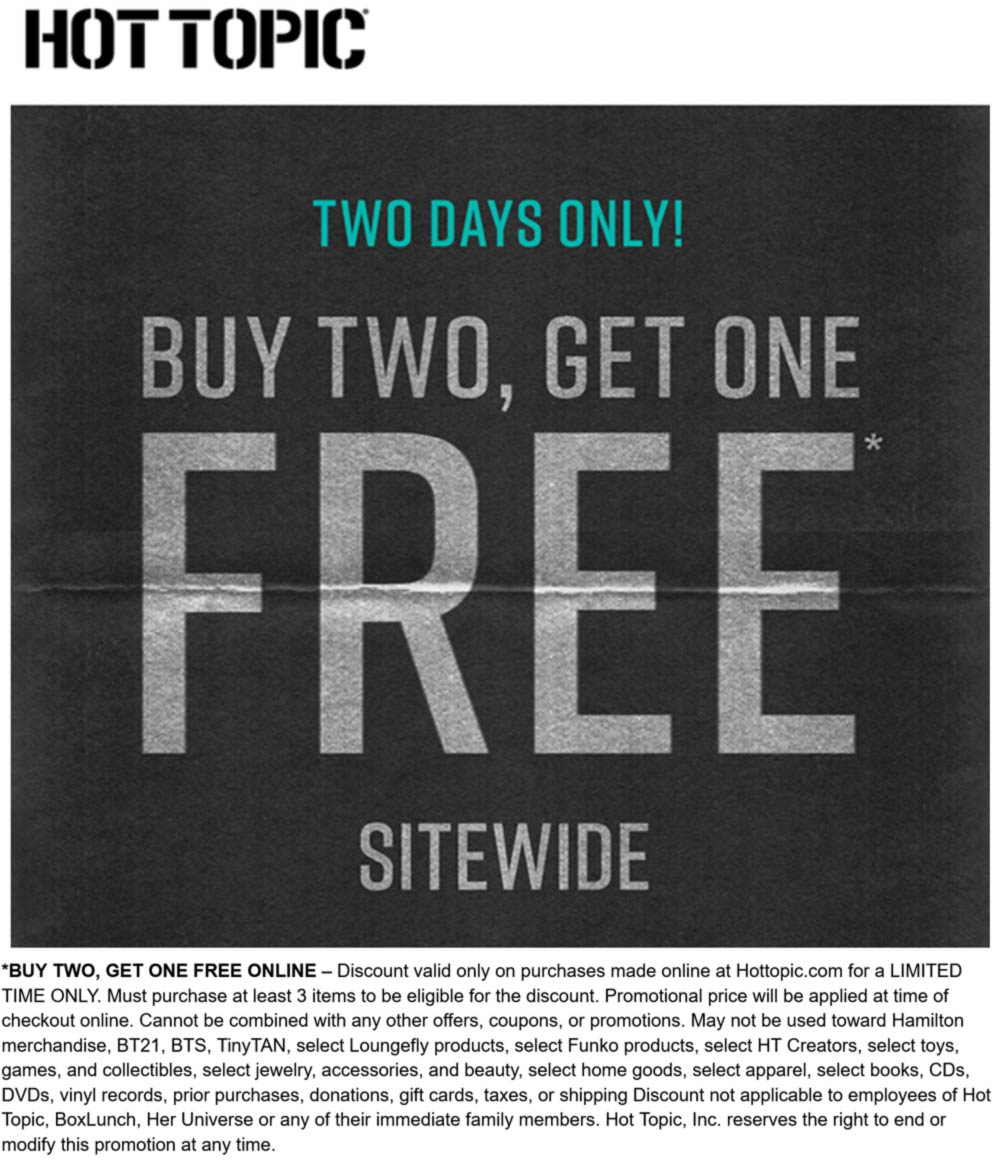 Hot Topic stores Coupon  3rd item free on everything online at Hot Topic #hottopic