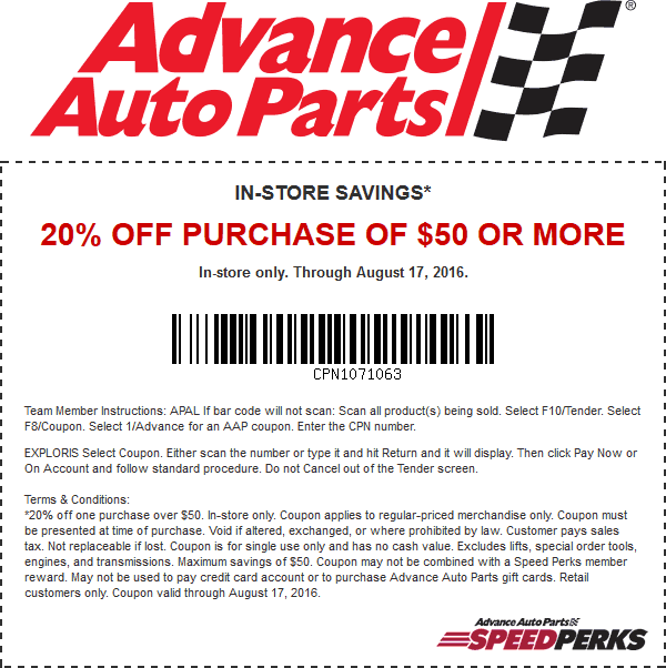 Auto Parts Coupons >> Advance Auto Parts Coupons 20 Off 50 At Advance Auto Parts