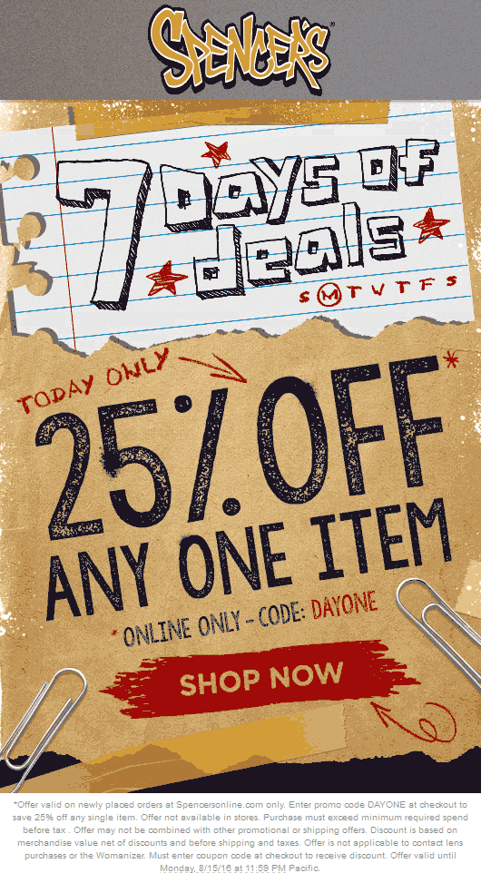 Register for Spencer's emails and be the first to find out about great store specials and online deals. Plus take advantage of Spencer's coupon codes for additional savings on trends and music, apparel, fun and games and home decor.