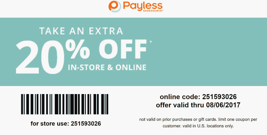 Payless Shoesource Coupon July 2020 Extra 20% off today at Payless Shoesource, or online via promo code 251593026
