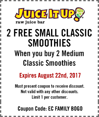 Juice It Up Coupon July 2020 4-for-2 on smoothies at Juice It Up juice bar