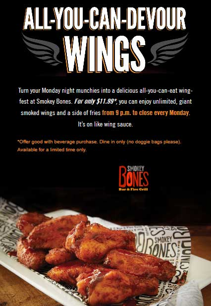 Smokey Bones coupons & promo code for [August 2020]