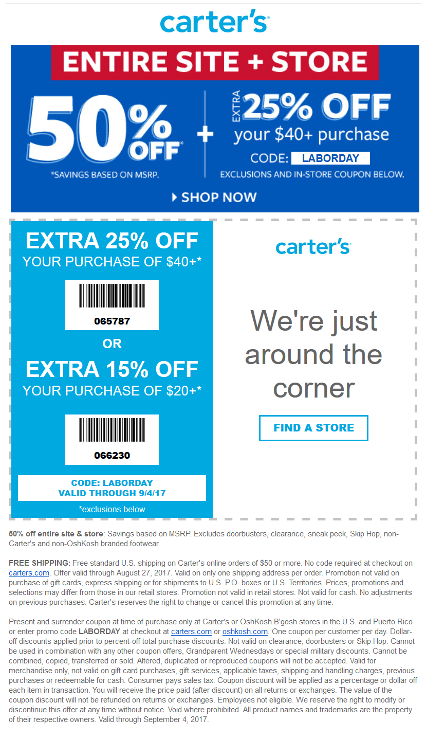 Carters Coupon March 2021 15-25% off $20+ at Carters, or online via promo code LABORDAY