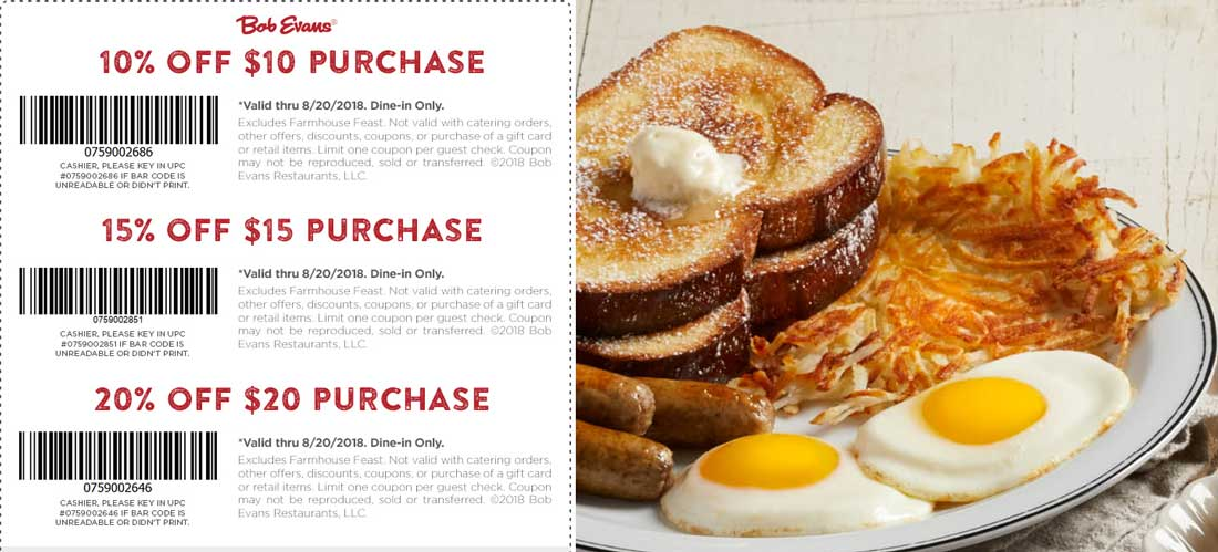 Bob Evans coupons & promo code for [June 2020]