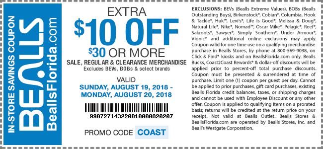 Bealls Coupon February 2020 $10 off $30 at Bealls, or online via promo code COAST