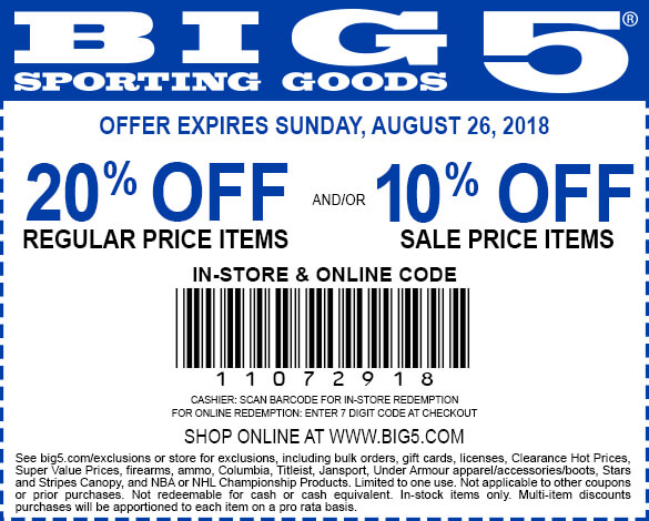 Big 5 coupons & promo code for [January 2021]