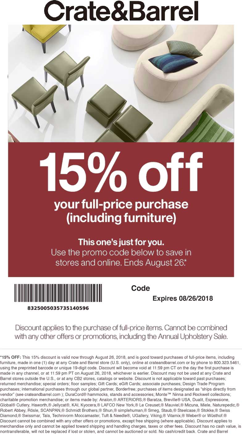 CRATE BARREL PROMO CODE 2019