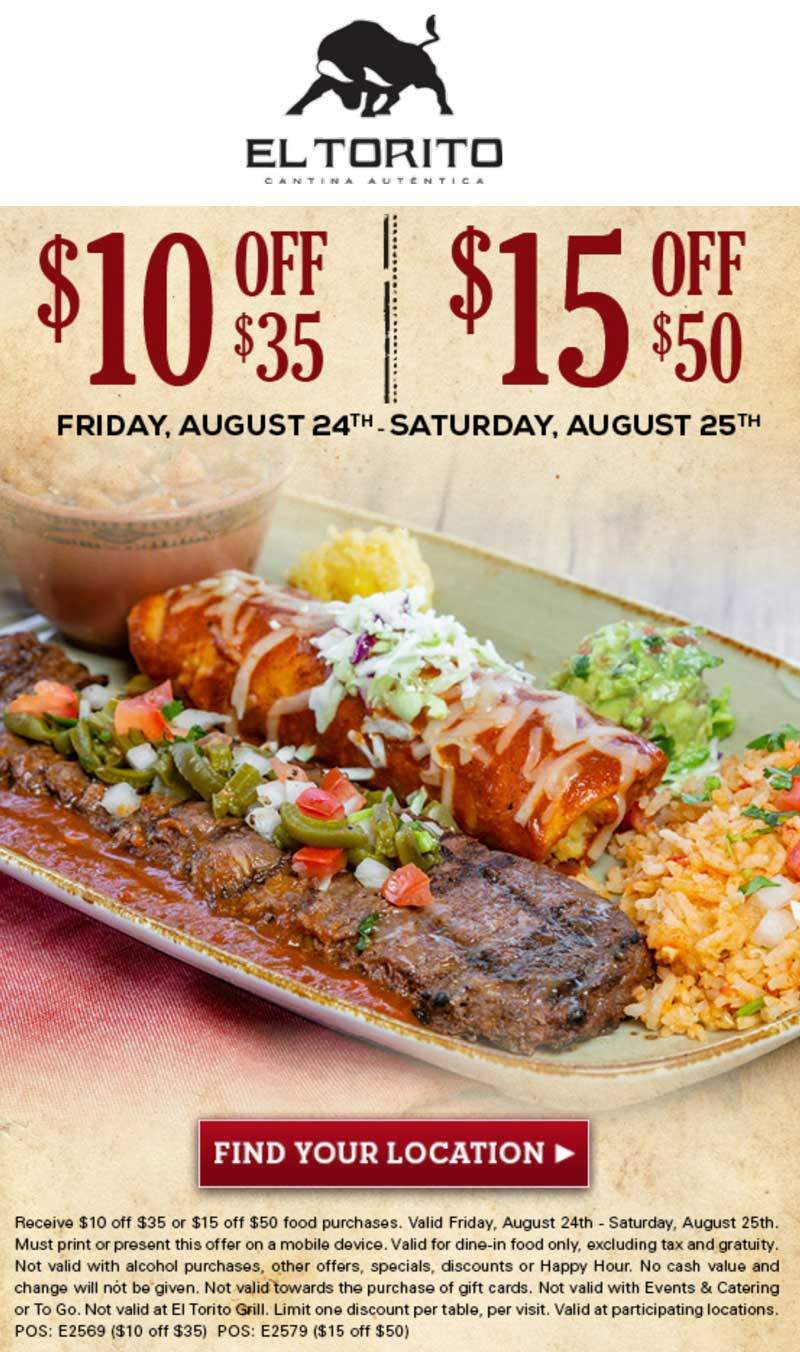 El Torito coupons & promo code for [June 2020]