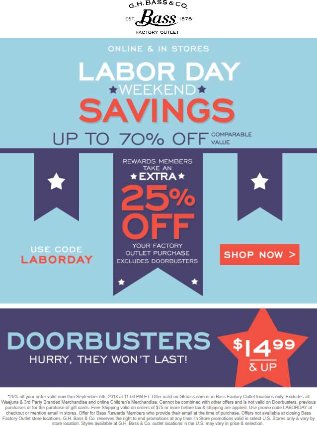 Bass Factory Outlet Coupon May 2020 Extra 25% off at G.H. Bass Factory Outlet, or online via promo code LABORDAY