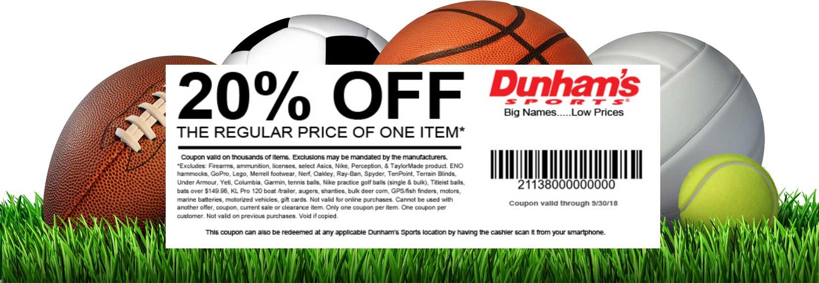 Dunhams Sports Coupon May 2020 20% off a single item at Dunhams Sports