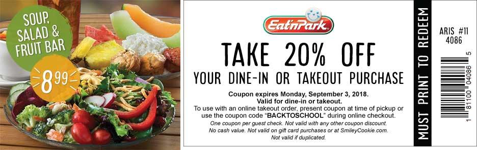 Eat n Park Coupon May 2020 20% off at Eat n Park restaurants