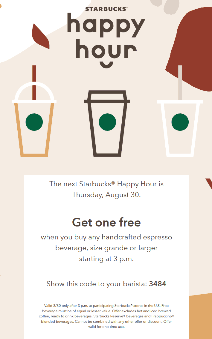 Starbucks Coupon June 2020 Second espresso free after 3p today at Starbucks
