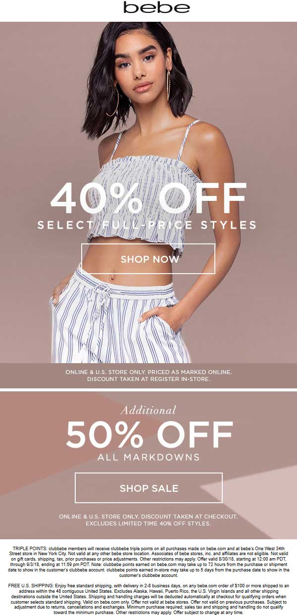 Bebe Coupon June 2020 40% off regular, 50% off sale items at bebe, ditto online