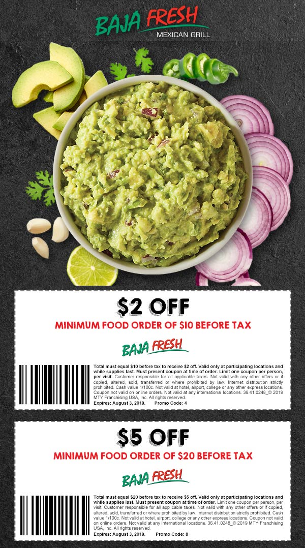 Baja Fresh Coupon November 2019 $2 off $10 & more at Baja Fresh restaurants