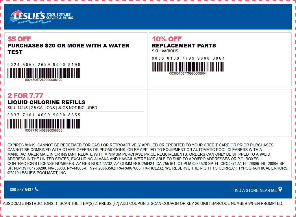 Leslies Pool Supplies Coupon December 2019 $5 off $20 today at Leslies Pool Supplies