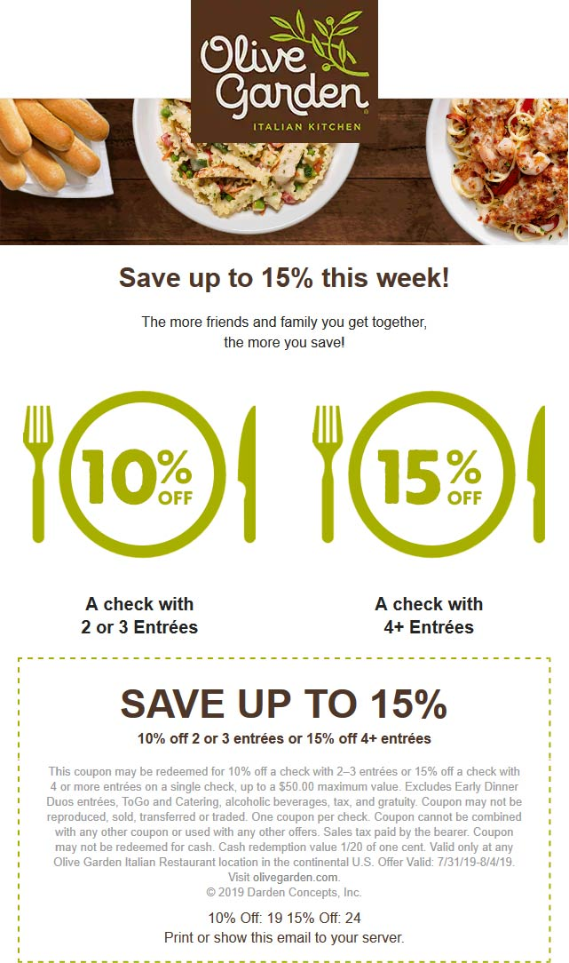 Olive Garden coupons & promo code for [September 2020]