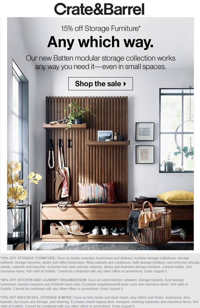 Crate & Barrel Coupon September 2019 15% off storage furniture, 20% off laundry & kitchen at Crate & Barrel, ditto online