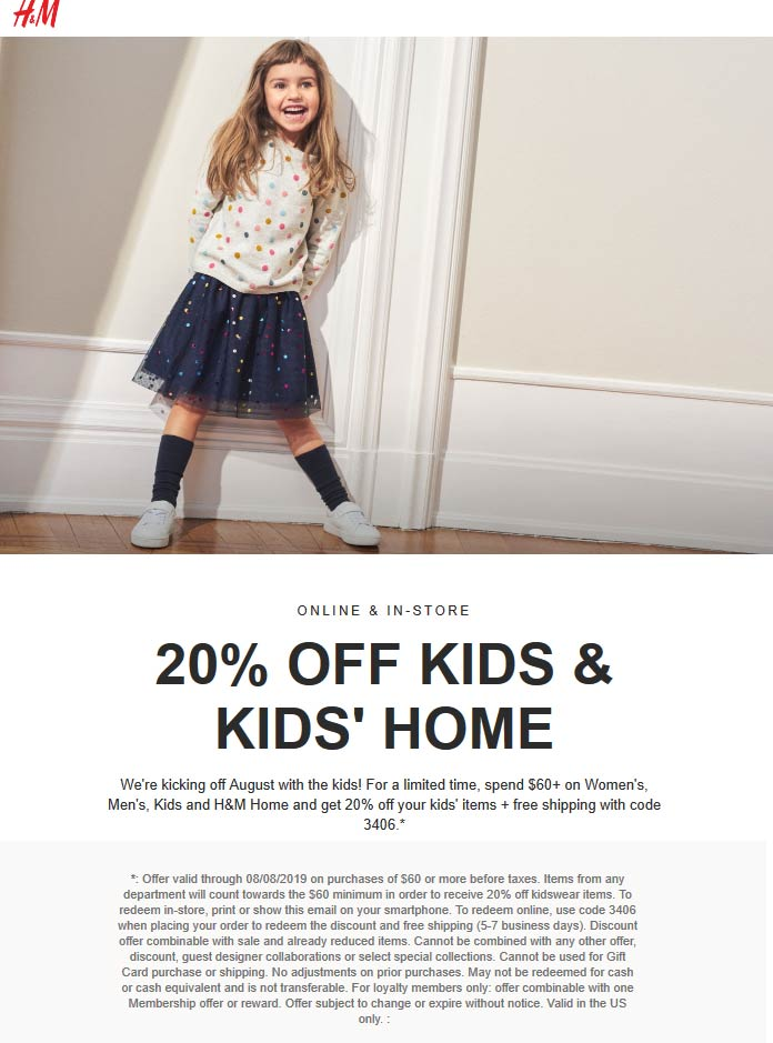 H&M.com Promo Coupon 20% off $60 on kids & home at H&M, or online with free ship via promo 3406