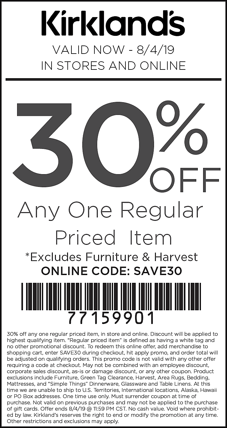 Kirklands Coupon September 2019 30% off a single item at Kirklands, or online via promo code SAVE30