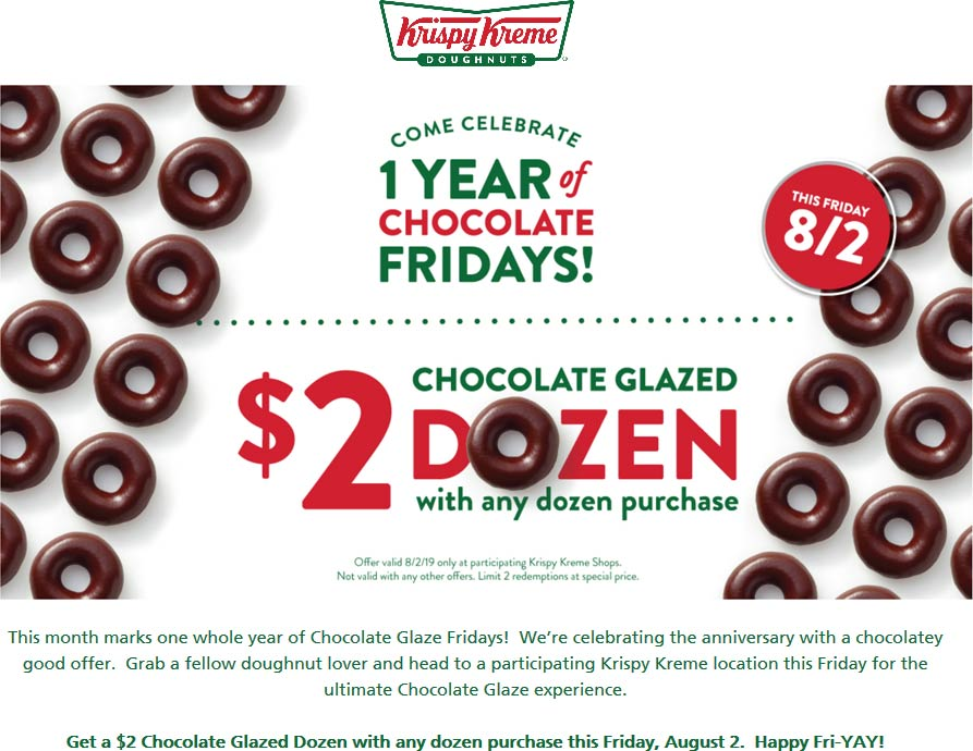 Krispy Kreme Coupon November 2019 Second dozen doughnuts for $2 today at Krispy Kreme