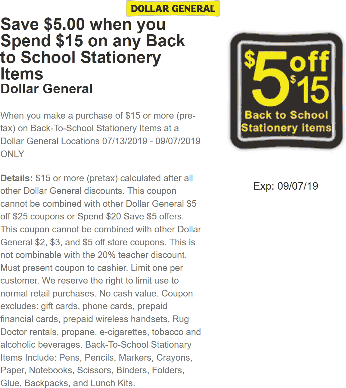 Back To School Coupon July 2020 $5 off $15 on Back to School stationery at Dollar General