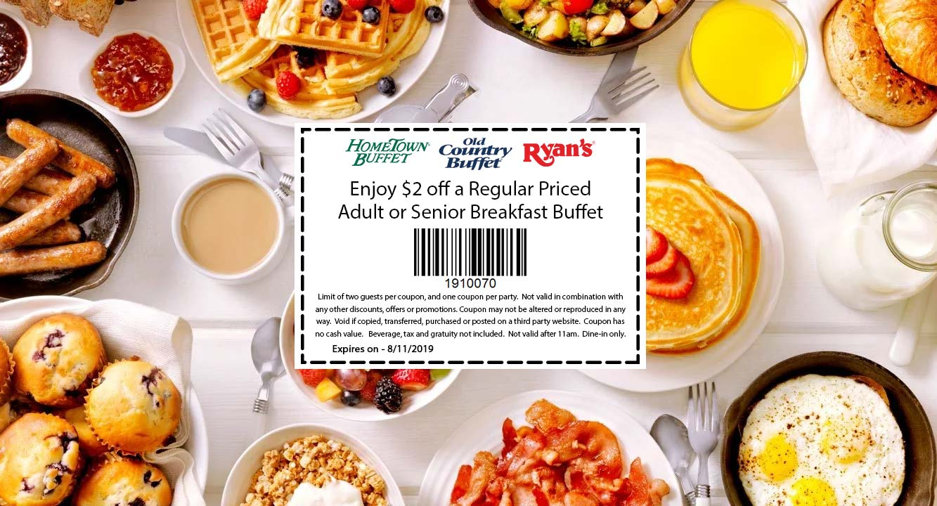 Old Country Buffet Coupon June 2020 $2 off breakfast at Hometown Buffet, Ryans and Old Country Buffet
