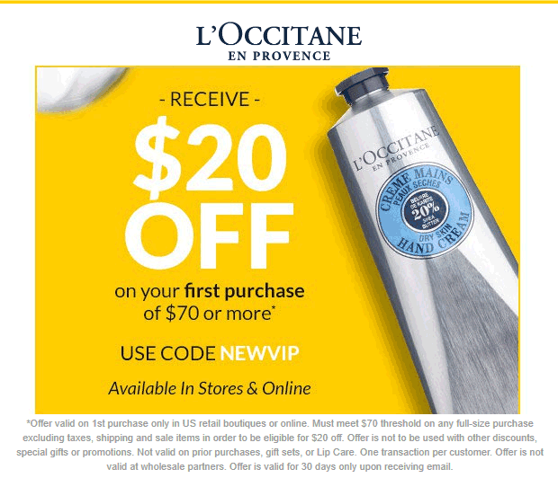 LOccitane Coupon January 2020 $20 off $70 at LOccitane, or online via promo code NEWVIP
