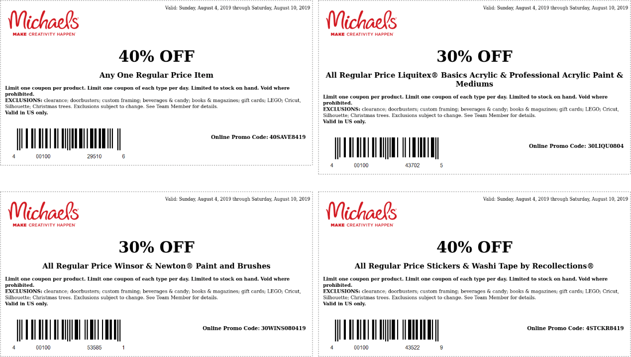 Michaels Coupon January 2020 40% off a single item at Michaels, or online via promo code 40SAVE8419