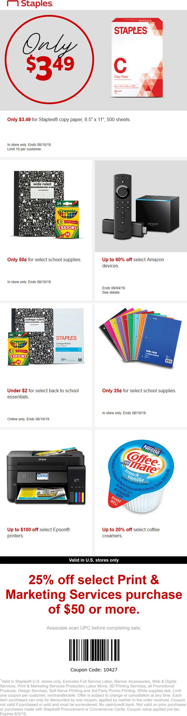 Staples.com Promo Coupon Various .50 cent school supplies going on at Staples