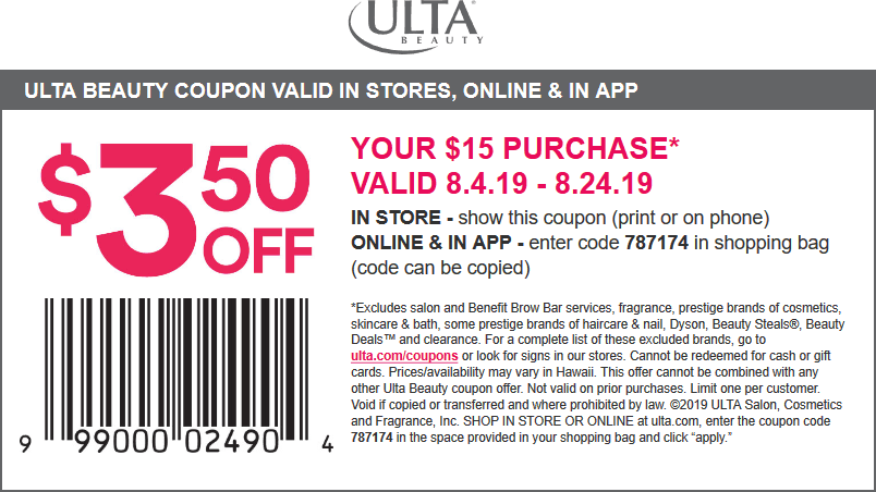 Ulta Coupon September 2019 $3.50 off $15 at Ulta Beauty, or online via promo code 787174