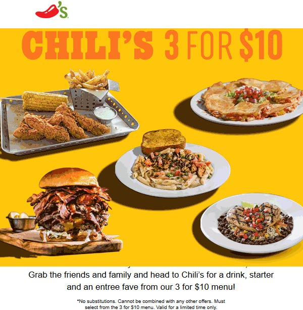 Chilis.com Promo Coupon Drink + appetizer + entree = $10 at Chilis