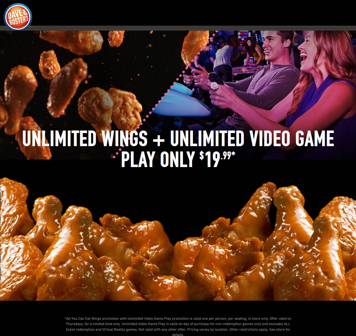 Dave & Busters Coupon February 2020 Bottomless wings $ games = $20 Thursday at Dave & Busters restaurants