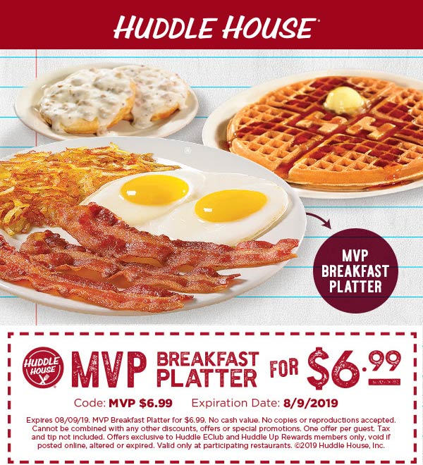 Huddle House Coupon September 2019 $7 MVP breakfast platter at Huddle House
