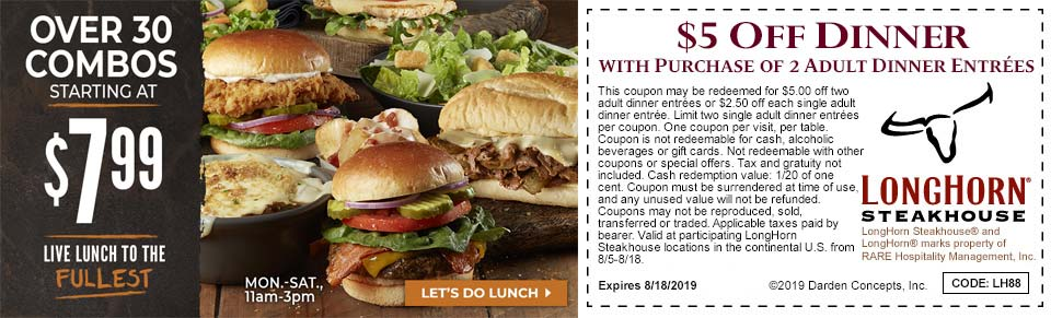 Longhorn Steakhouse coupons & promo code for [February 2021]