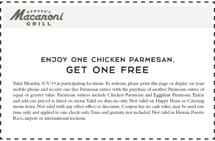 Macaroni Grill Coupon January 2020 Second chicken parmesan free today at Macaroni Grill restuarants