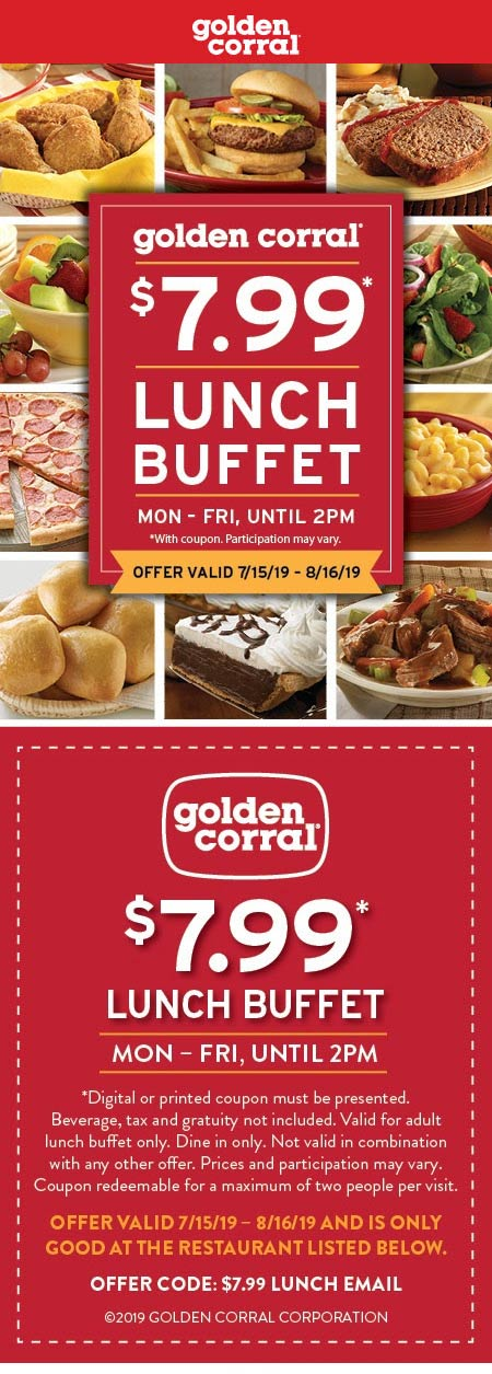GoldenCorral.com Promo Coupon $8 lunch buffet at Golden Corral restaurants