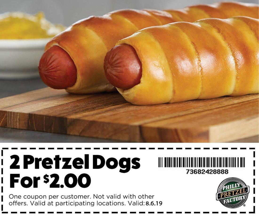 Philly Pretzel Factory Coupon October 2019 2 pretzel dogs for $2 today at Philly Pretzel Factory restaurants