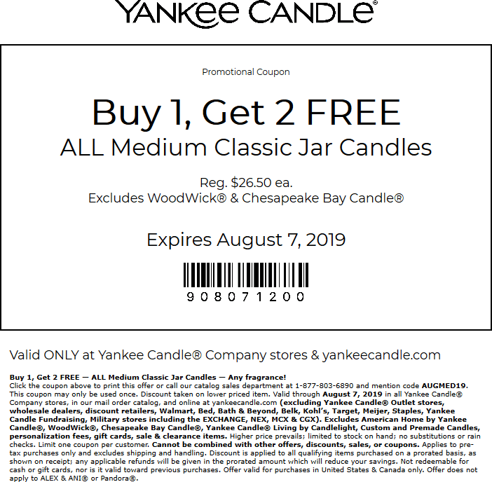 YankeeCandle.com Promo Coupon 3-for-1 on medium candles at Yankee Candle, or online via promo code AUGMED19
