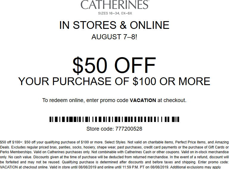 Catherines Coupon November 2019 $50 off $100 at Catherines, or online via promo code VACATION