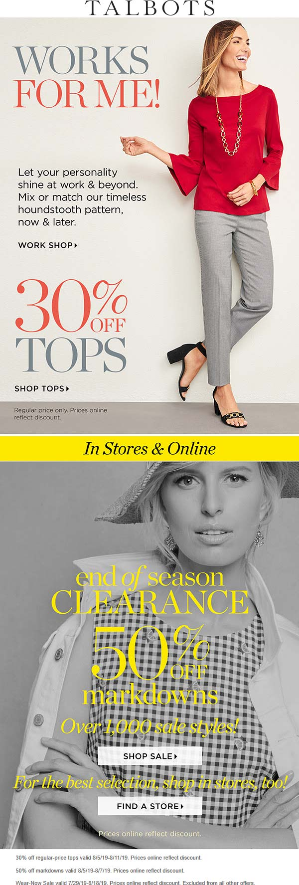 Talbots Coupon August 2019 30% off tops & 50% off sale items at Talbots, ditto online